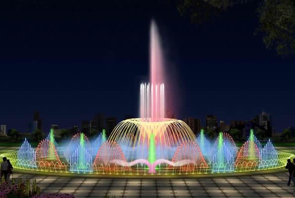 某建筑景观喷泉手绘效果图